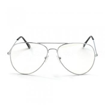 Óculos estéticos Aviator Clear Prateado