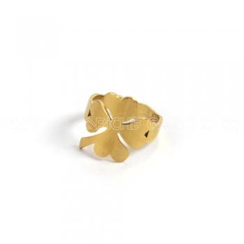 Anel aço dourado trevo