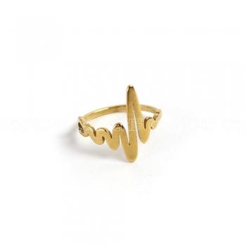 Anel aço dourado cardio