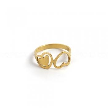 Anel aço dourado lovers