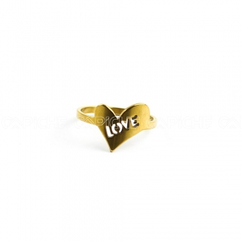 Anel em aço Love
