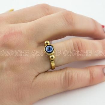 Anel em aço Olho Dourado