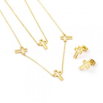 Conjunto Duplo Cruz Dourado