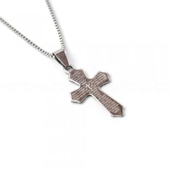 Colar em aço cruz Pai Nosso