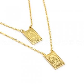 Escapulário em aço Dourado