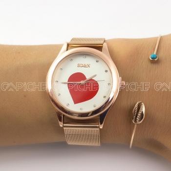 Relógio Coração Rose
