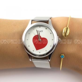 Relógio Coração Prateado