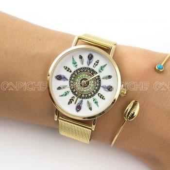 Relógio Penas Dourado