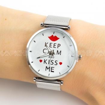 Relógio em aço Keep Calm Prateado