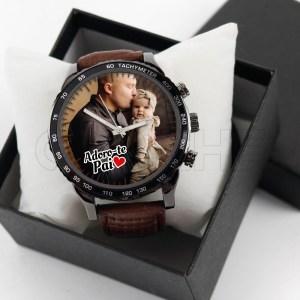 Relógio Personalizado com Foto Masculino Castanho Dark