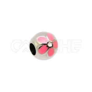 Conta em aço Flor rosa