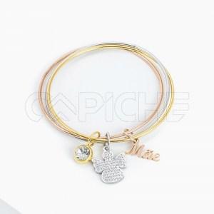 Bracelete tripla em aço Mãe