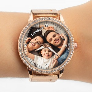 Relógio com Foto Personalizado Rose Gold