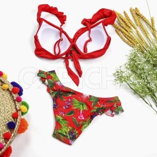 Conjunto bikini Plissado Vermelho