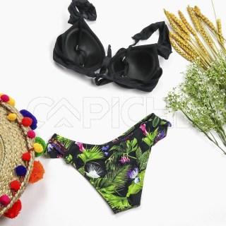 Conjunto bikini Plissado Preto