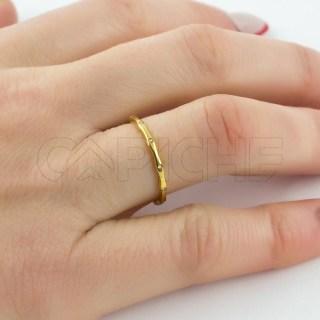 Aliança em aço Brilhos Dourada