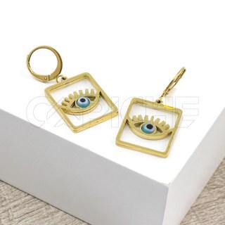 Brincos em aço olho dourado