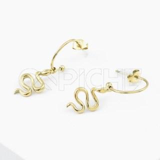 Brincos em aço Serpente Dourado