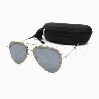 Óculos de sol Sparkly Silver aviator