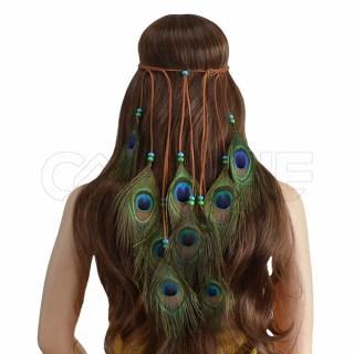 Fita/ Boho de cabelo Pavão