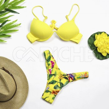 Conjunto bikini Push Up amarelo
