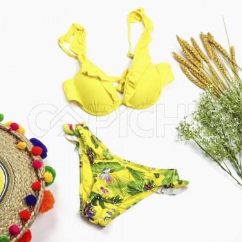 Conjunto bikini Plissado Amarelo