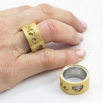 Anel em aço Mãe Dourado