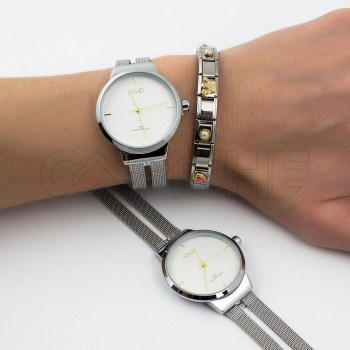 Relógio em aço Bright Prata