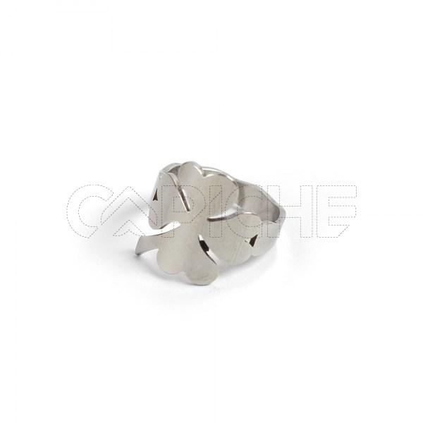 Anel aço prata trevo