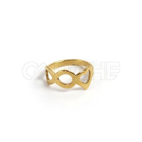 Anel aço dourado infinity love