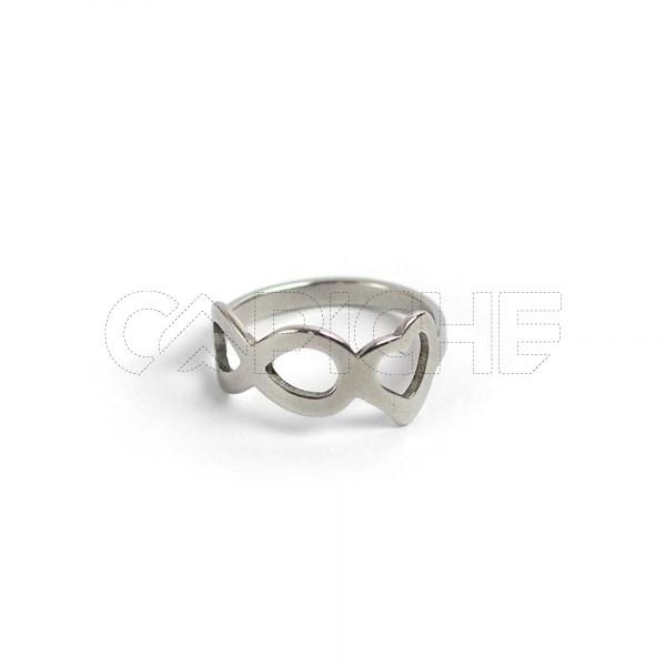Anel aço prata infinito love