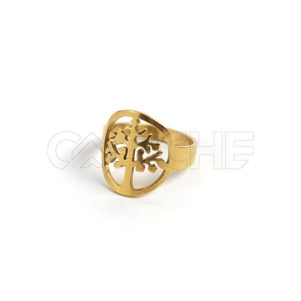 Anel aço dourado arvore
