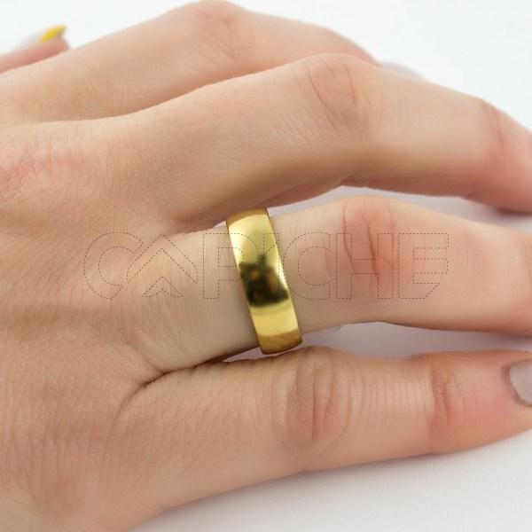 Aliança em aço Classic Dourada 6mm