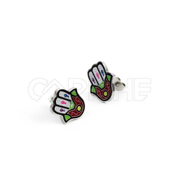 Brincos em aço Mão Colorida