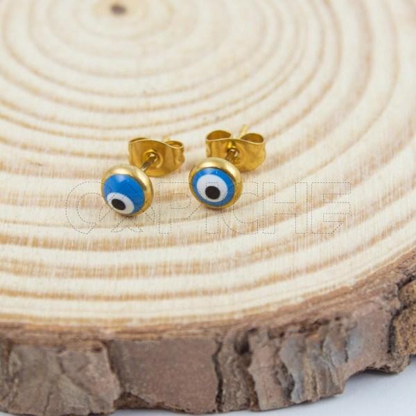 Brincos em aço Olho Turco Dourado