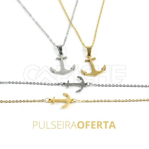 Conjunto de colar e pulseira em aço Ancora