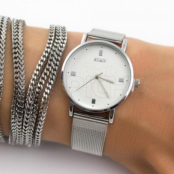 Relógio Aço Coração prata