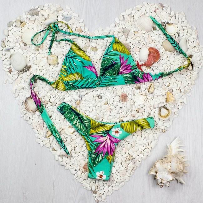 Bikini Fringe Verde Água