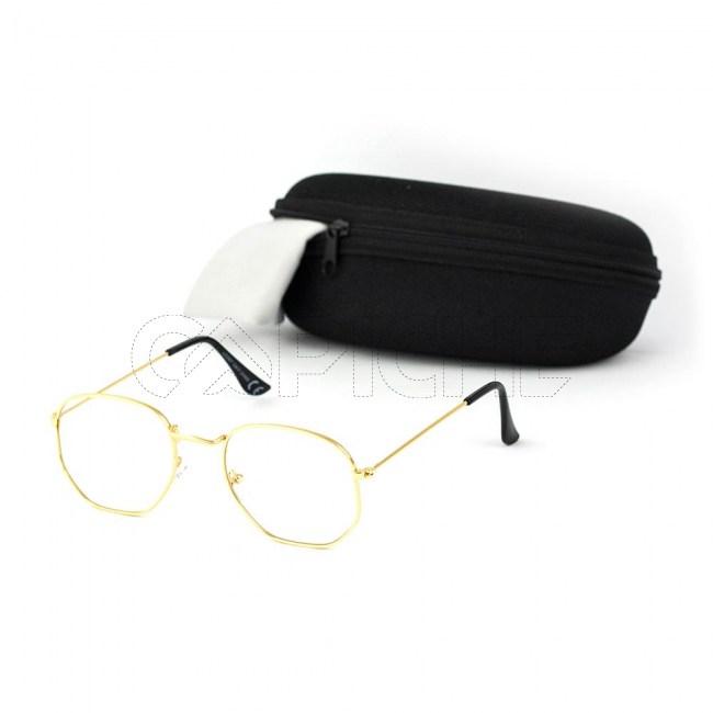 Óculos Estéticos Exagon Clear Gold