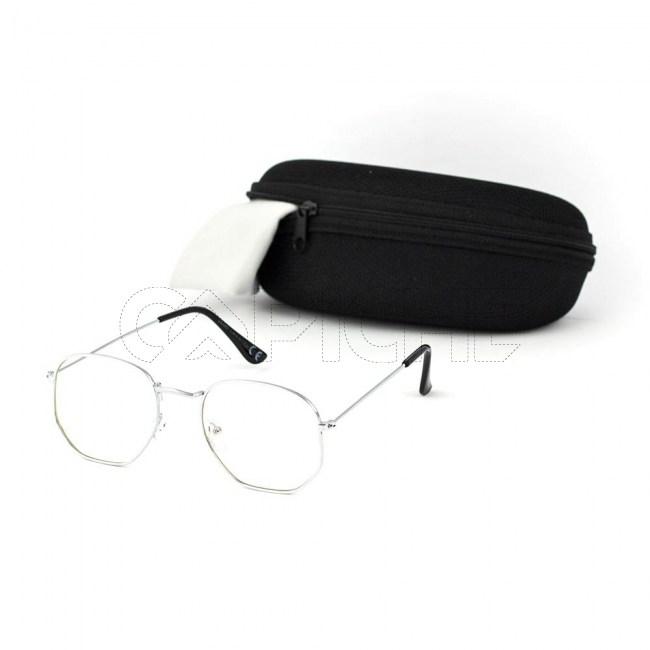 Óculos Estéticos Exagon Clear Silver