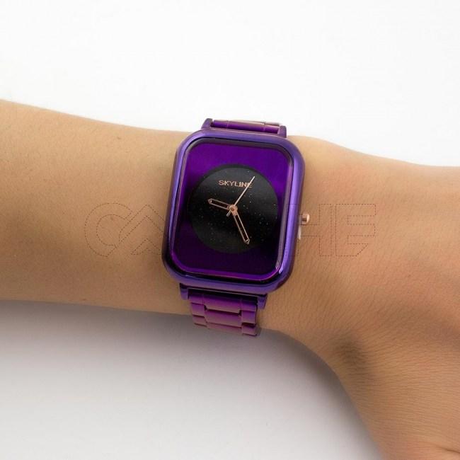 Relógio Aço Night Roxo