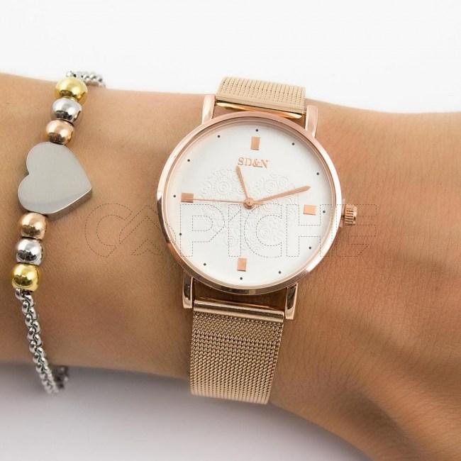 Relógio Aço Coração Rose