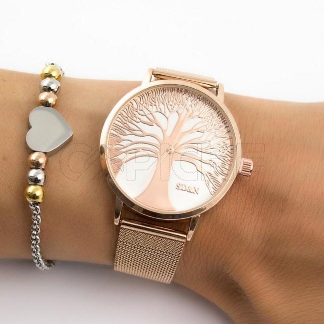 Relógio Aço Árvore Rose
