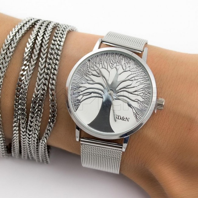 Relógio Aço Árvore