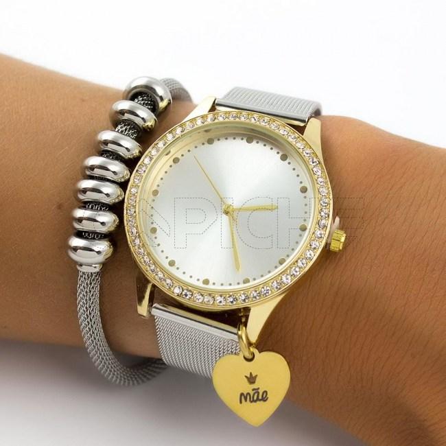 Relógio Aço  Mãe