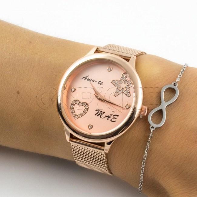 Relógio em aço Amo-te Mãe