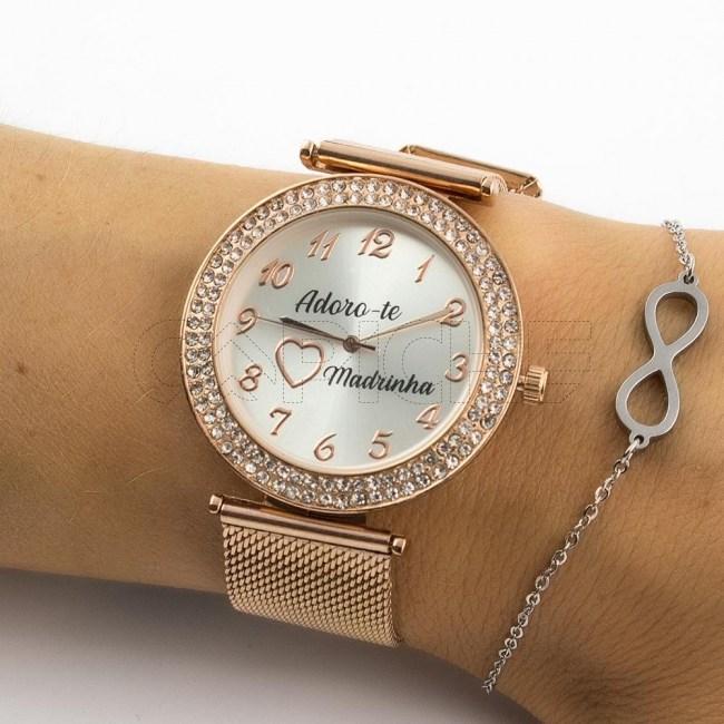 Relógio em aço Adoro-te Madrinha