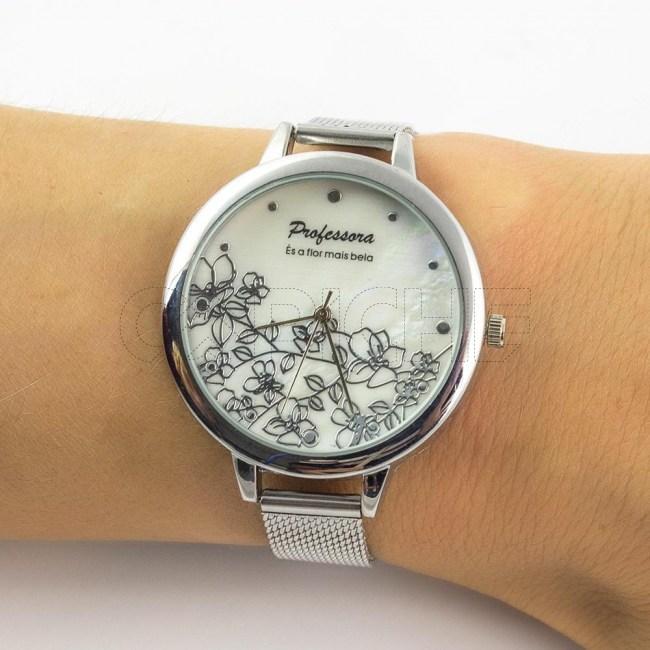 Relógio em aço Professora