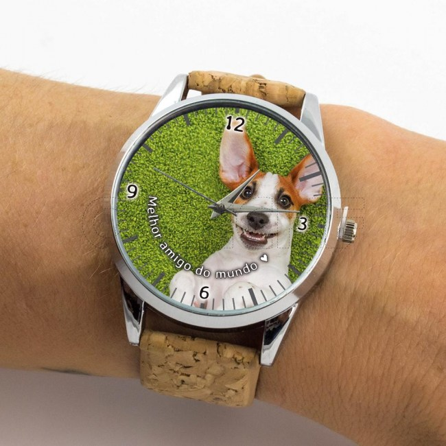 Relógio com Foto Personalizado Cortiça