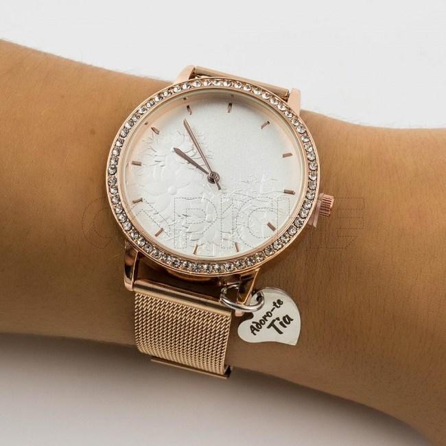 Relógio Floral com pendente Gold